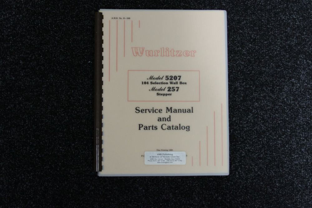 Wurlitzer Service Manual and Parts Catalog Model 5207 104 Selection Wall Box, Model 257 Stepper