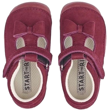 Gorgeous pink suede mary jane shoes with Velcro fastening and a little bow, by Start Rite