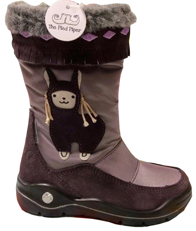 Long boots for young girls with furry tops and an adorable llama motif