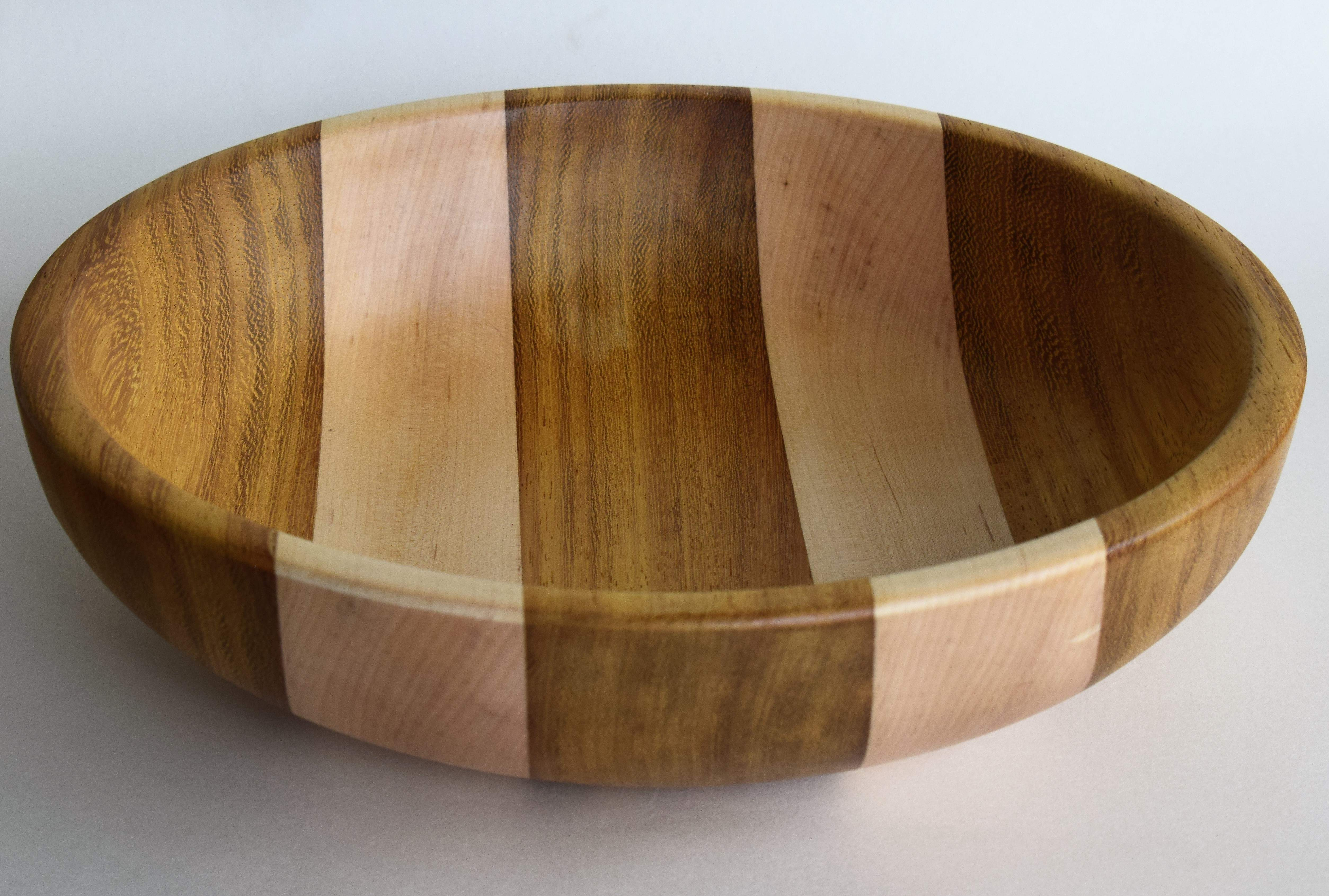 Large Segmented Two Stripe Wood Turned Fruit Bowl