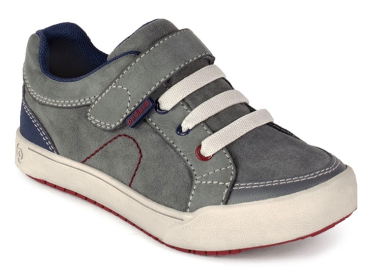 Grey suede trainers for young boys and toddlers