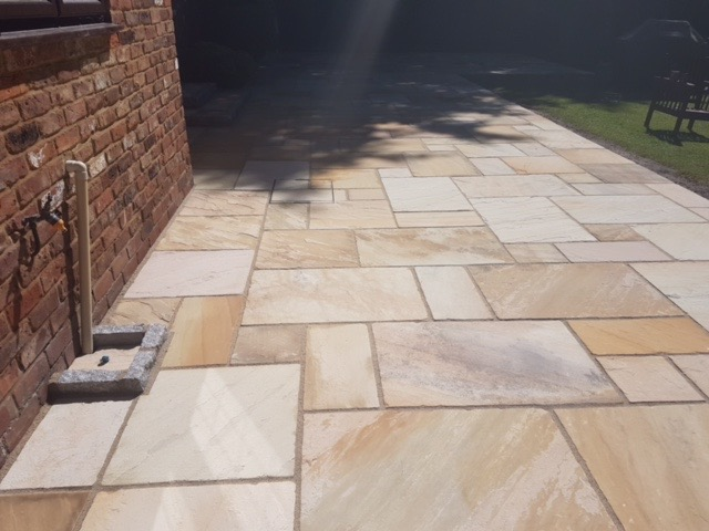 New sandstone patio in Ascot Berkshire by Block Paving Surrey