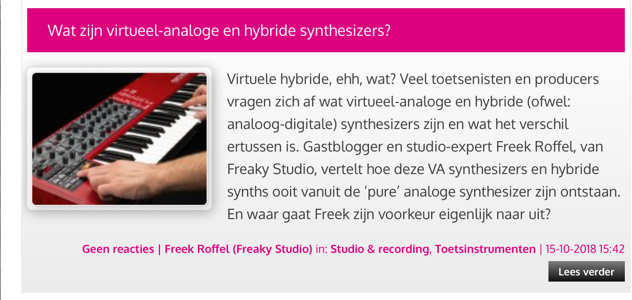 Eerste blog bij Bax over virtueel analoge en hybride synthesizers