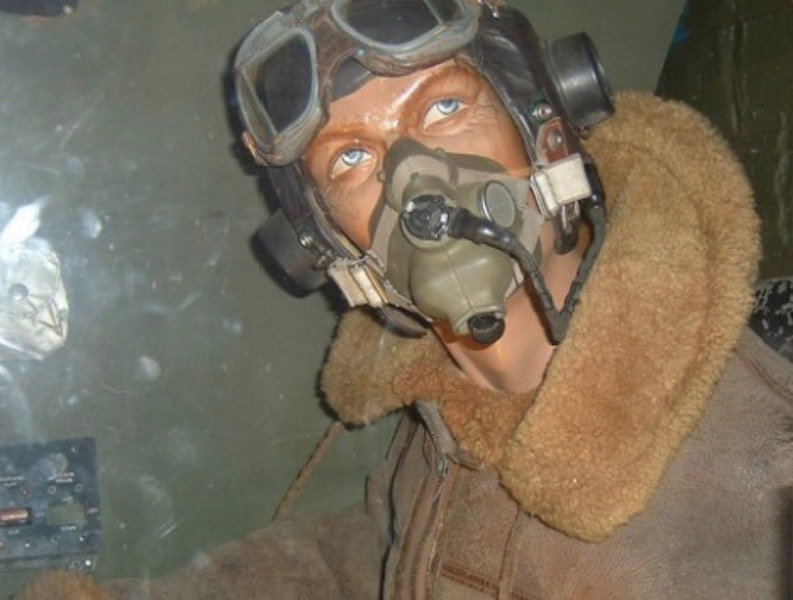 A model of a wartime aircraft pilot at the aviation museum, Dumfries