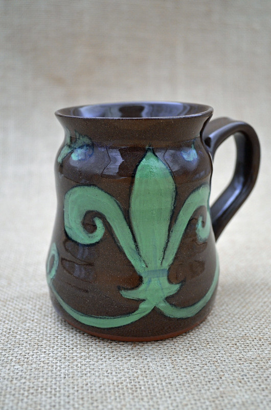 French fleur de lis, medieval style, on earthenware