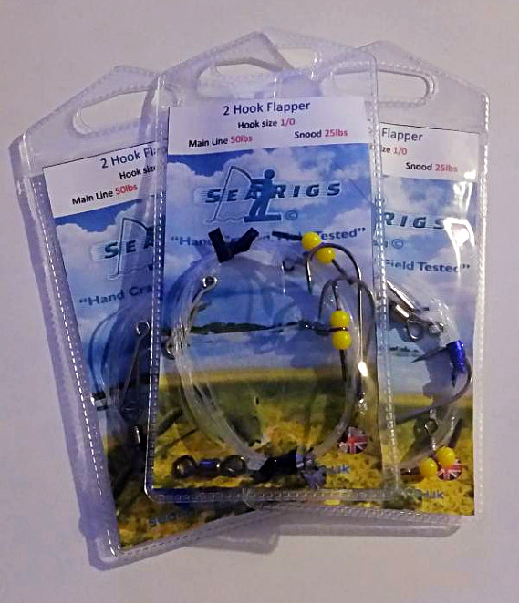 3 Packs of 2 Hook Flapper Rigs 2/0.