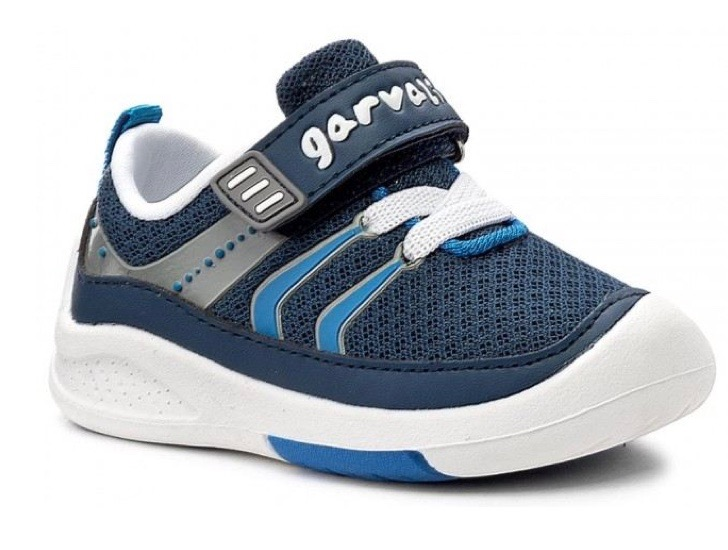 Young boys blue and white trainers