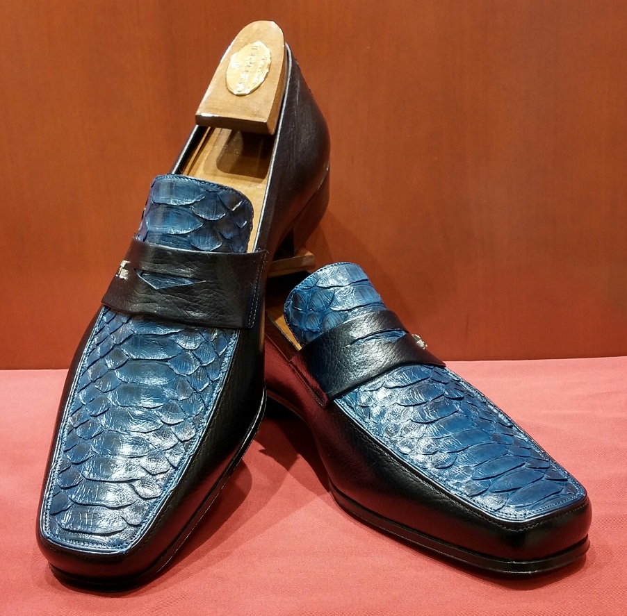 Loafer Model 6M923 Blue & Python Instep