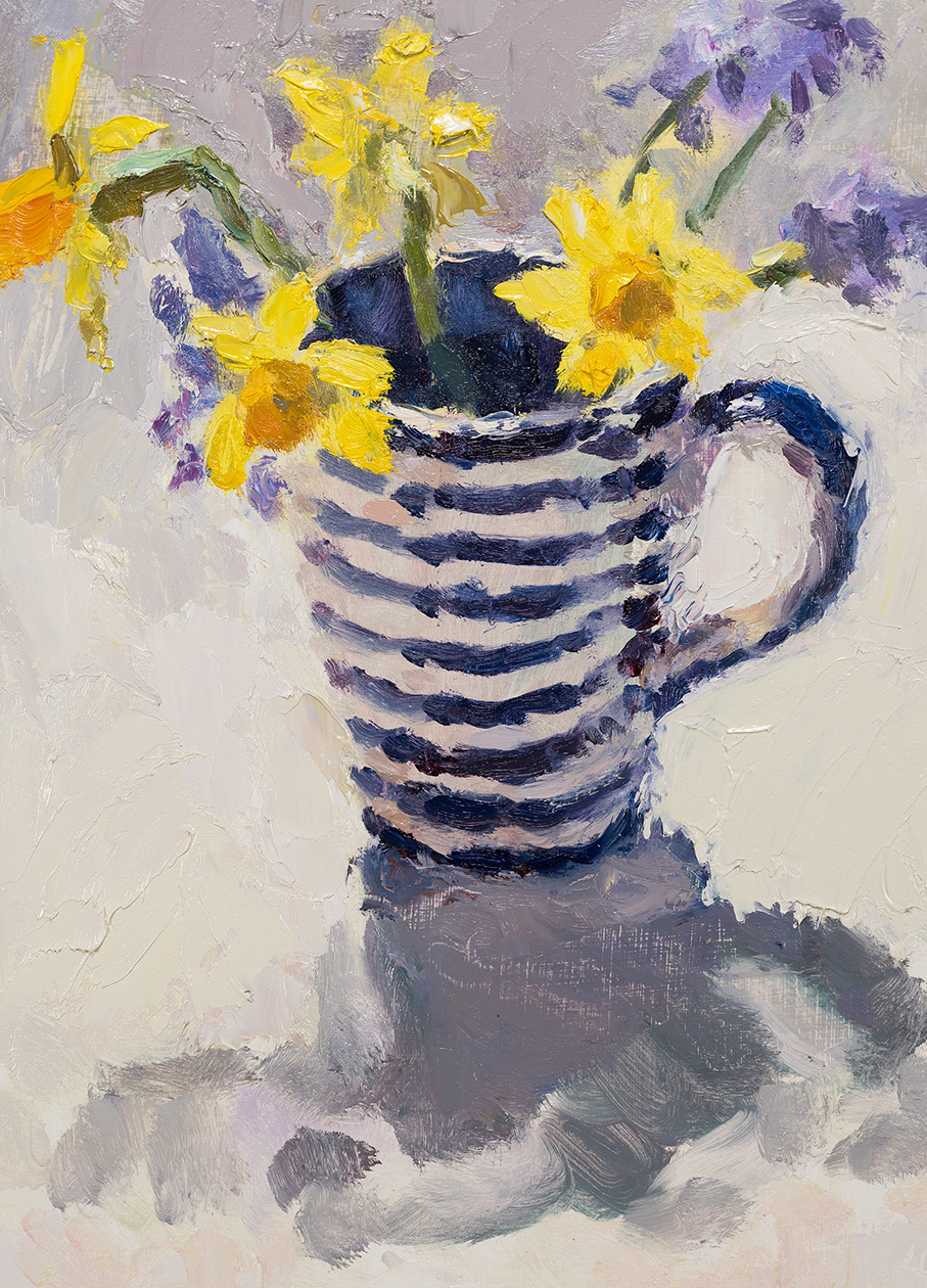 Spring Flowers in Striped Mug