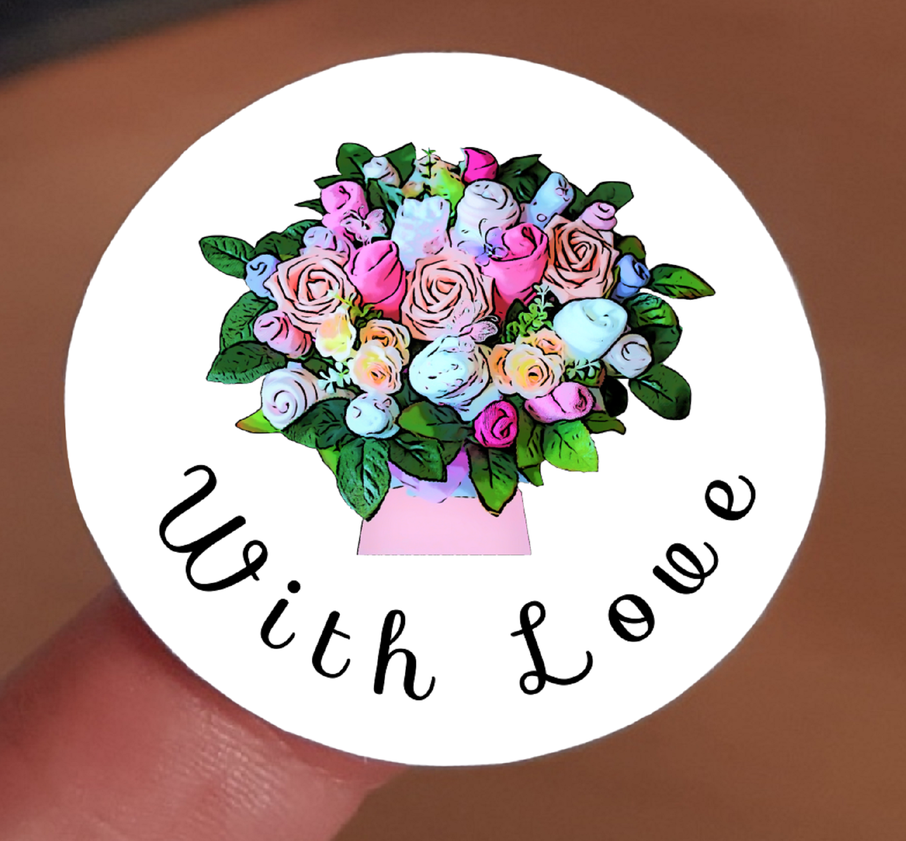 """With Love"" Stickers - Pink Floral Bouquet"
