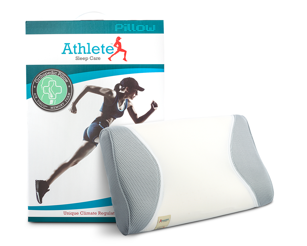 ATHLETE CONTOUR PILLOW WHITE - 61 X 36 X 12 CM