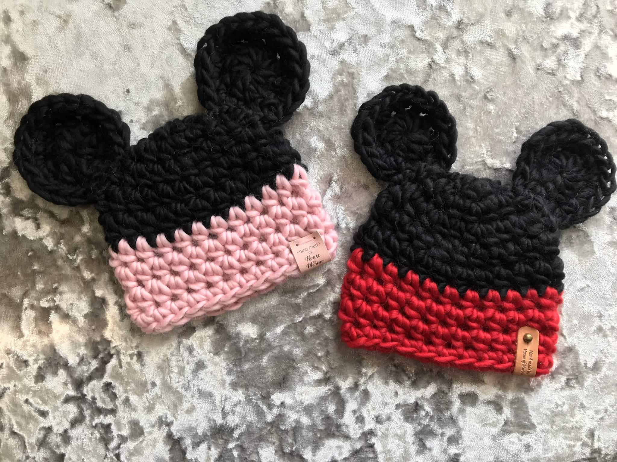 Merino Mickey and Minnie Mouse inspired beanies