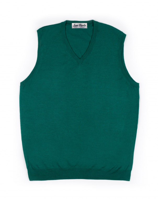 V-Neck Silk & Cashmere Vest Emerald 01