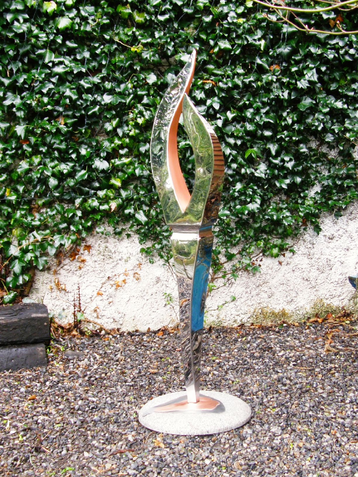 Rushlight on Pebbles - Handmade in Stainless Steel & Copper on Granite Base - Stands 130cm