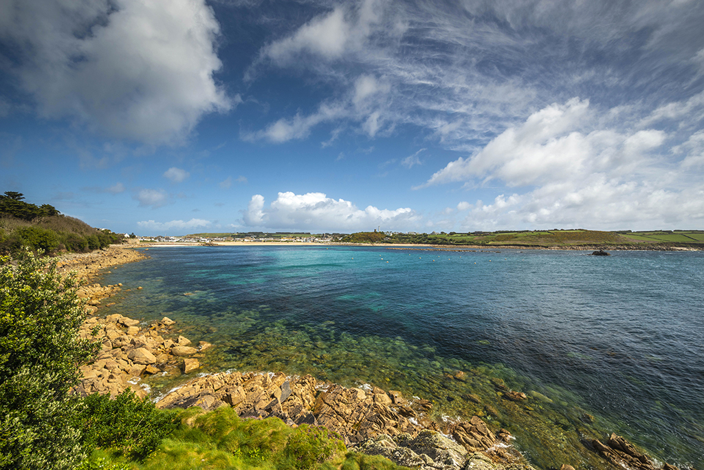 Porthcressa viewed from Morning Point on the Garrison. Stock Image ID: 3084