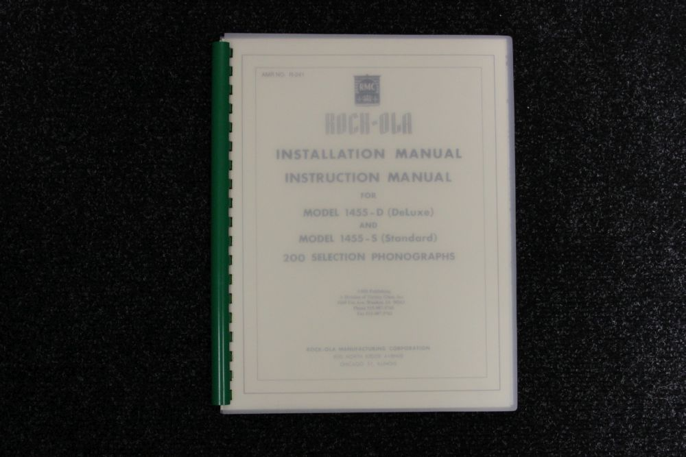 Rock-ola - Installation, Instruction Manual - Model 1455 D en S