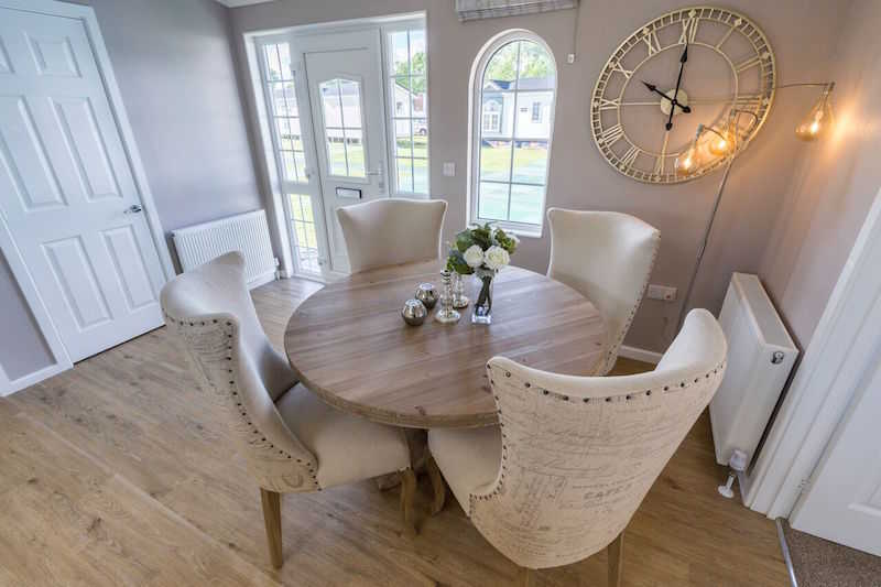A dining area in one of our West Park Estates park homes