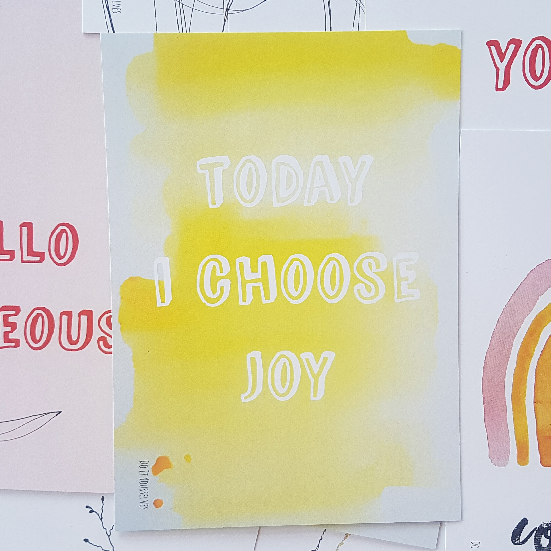 Set van 2 ansichtkaarten Hello gorgeous en Today I choose joy