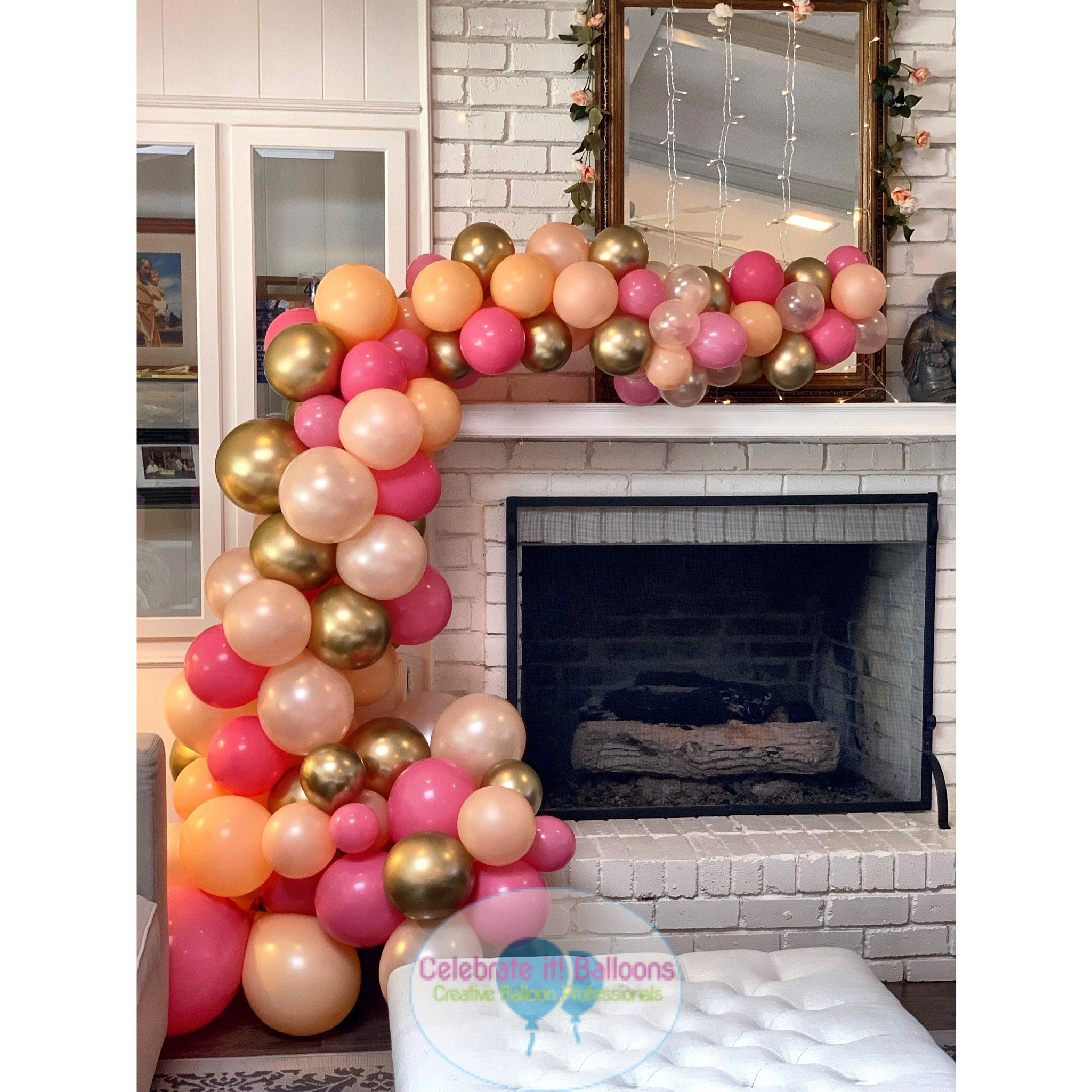Organic balloon garland in rose, pink, peach and gold