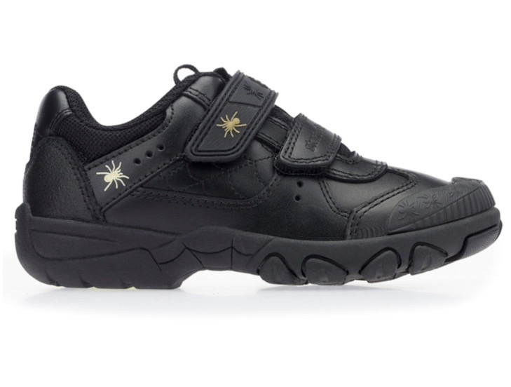 Boys black leather trainers with spider motif