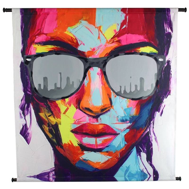 STREET ART, velvet wandpaneel, Sunglasses Multi 105x3x105cm
