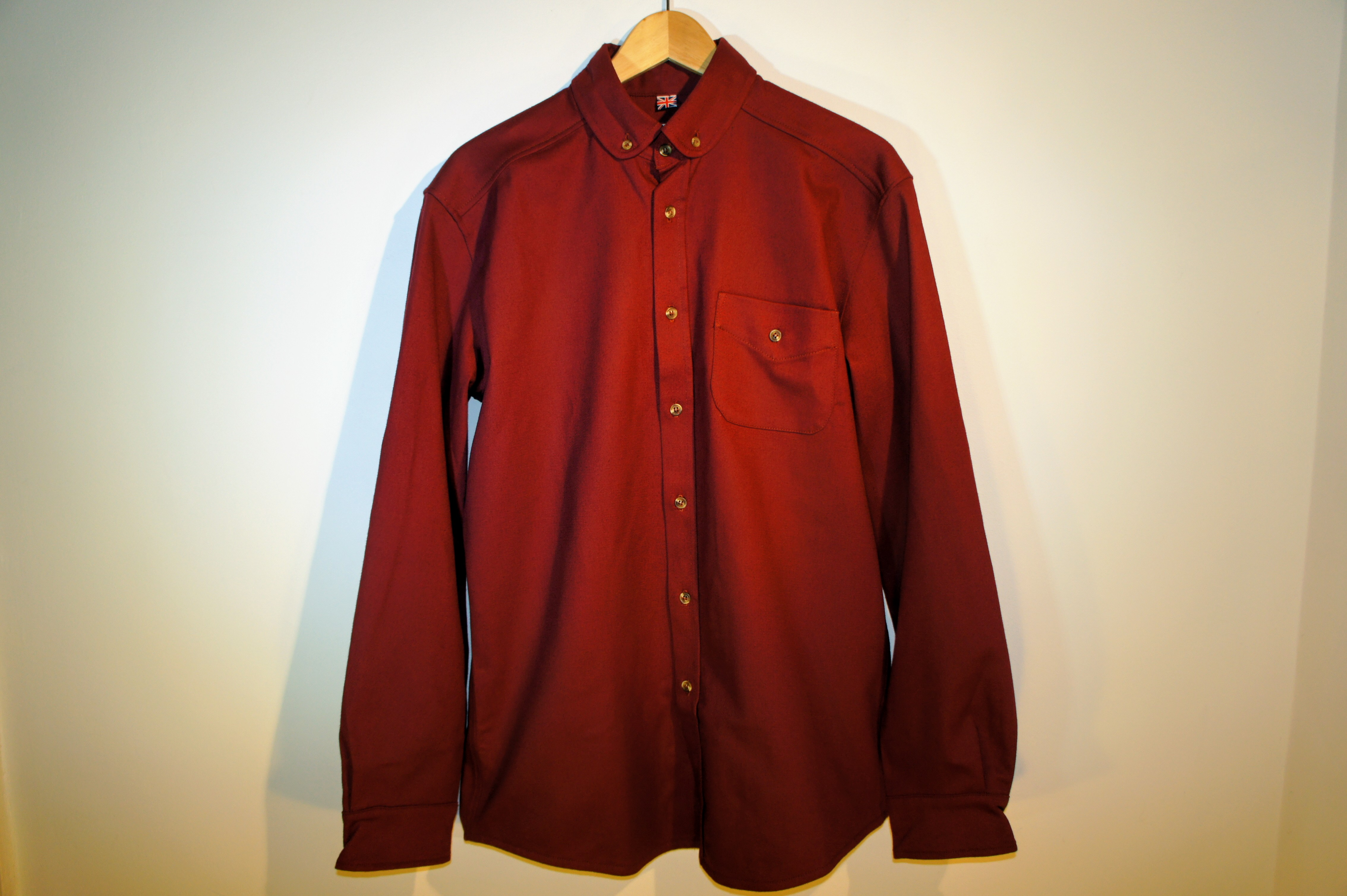 Mandarin /Button Down Overshirt | Stockwell Red