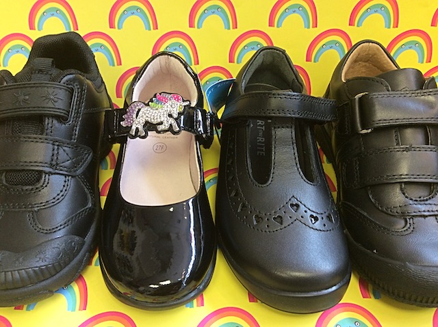 A selection of the 2019 school shoe range for boys and girls
