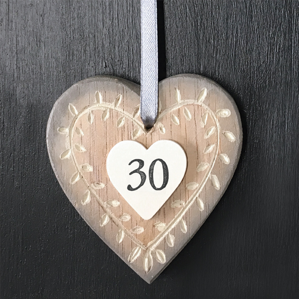 East Of India Age 30 Wooden Hanging Heart