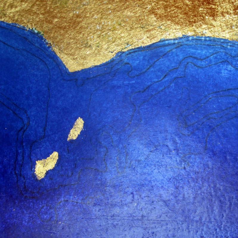 Memories of a favourite place by the sea, on coastline – marine maps with gold leaf