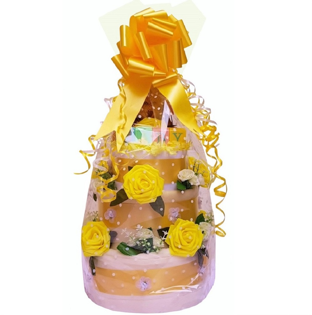 Beautiful Yellow Nappy Cake for a Girl or Boy