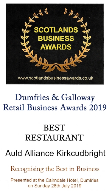 Logo for Scotland's Business Awards naming The Auld Alliance Kirkcudbright as the Best Restaurant in Dumfries and Galloway 2019