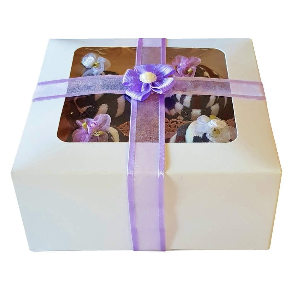 Women's Sock Cupcakes, Purple Ribbon Gift Box *ON SALE*