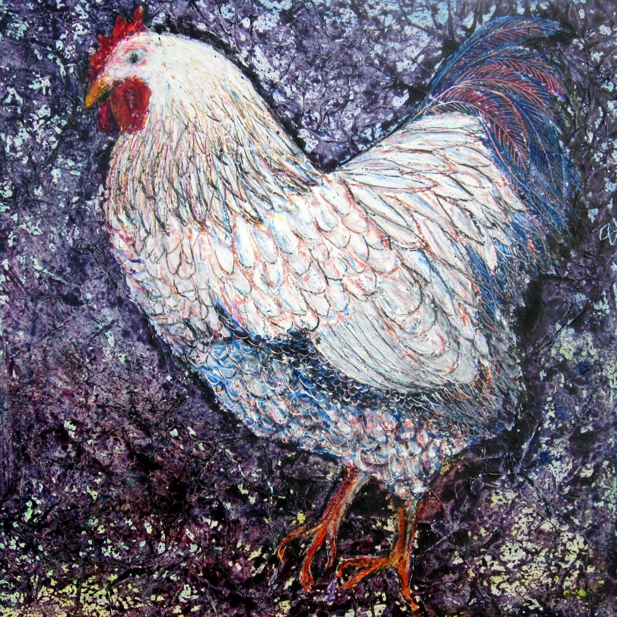 Beautiful vibrant painting of a cockerel with exotic plumage by contemporary Irish artist Mary Wallace, hen, cockerel, chicken, white, sepia, rosewood