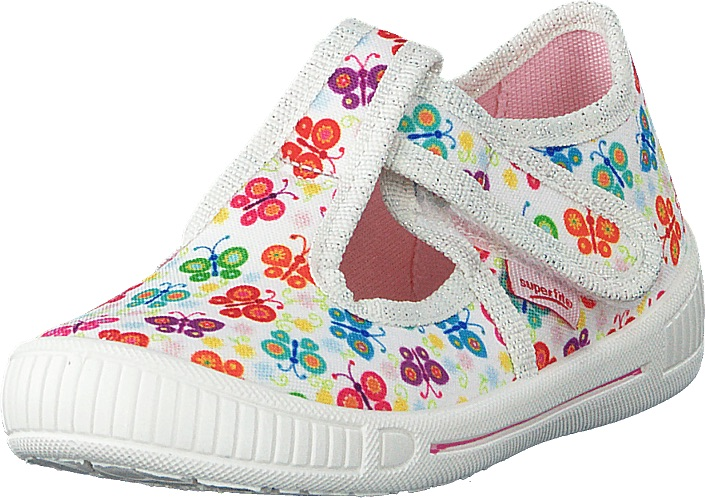White canvas sandal for toddler girls with butterfly motif