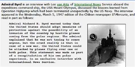 Admiral Byrd's interview in El Mercurio
