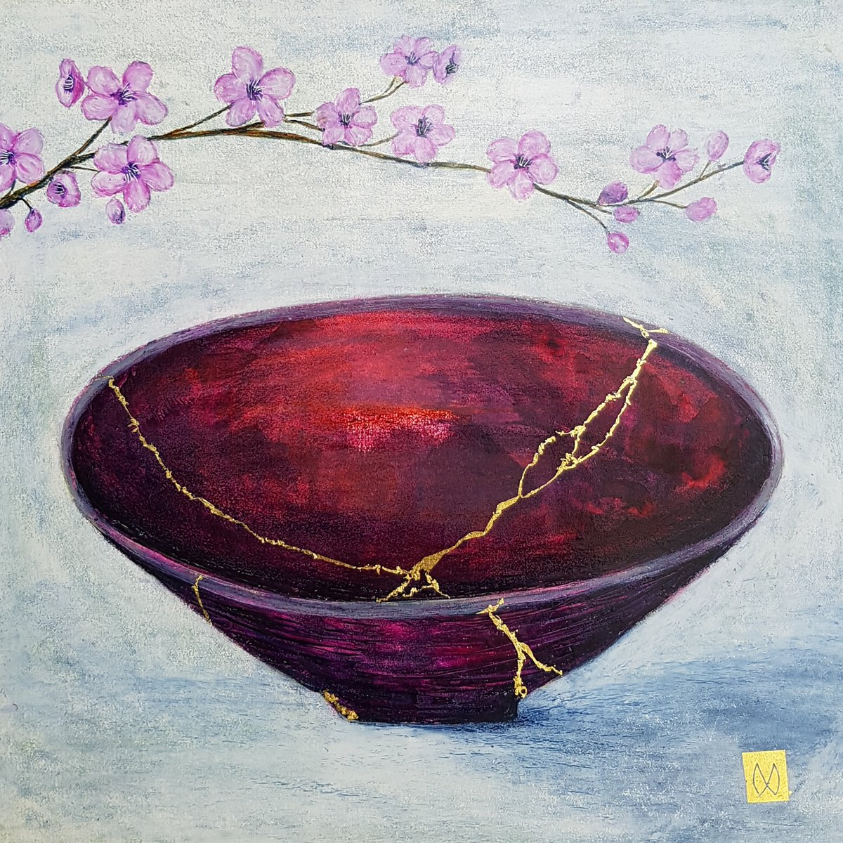 Contemporary painting of a purple majenta kintsugi bowl with plum blossoms gold repair.