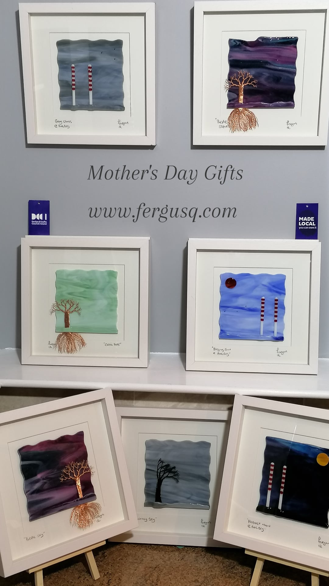 Mother's day gifts. A collection of Framed Glass Art Pictures some with handmade copper wire Trees & some with the Poolbeg Chimmeys all made from glass
