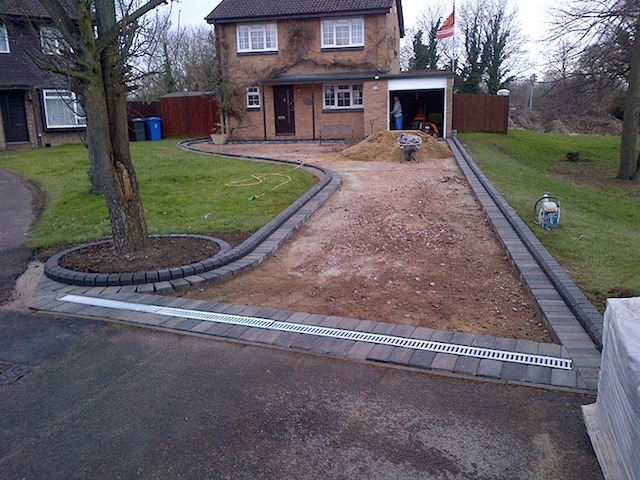 New driveway construction in Datchet, Berkshire
