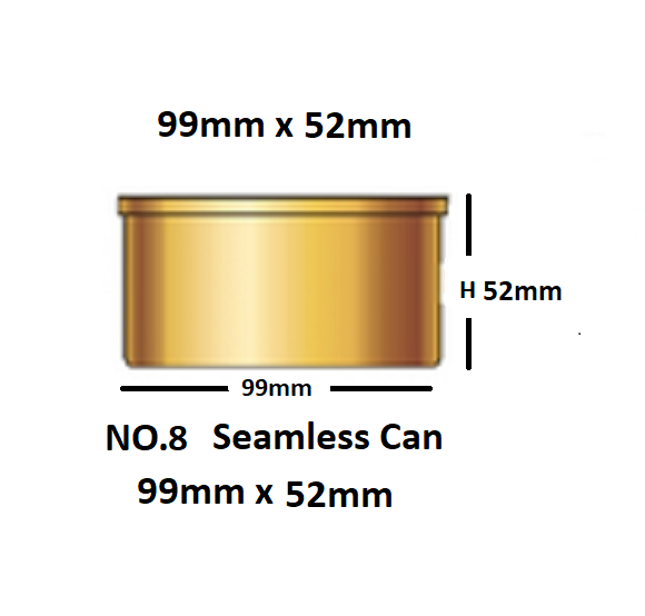 48 In A Box No8. Tin Can with Lid diameter 99mm x 52mm will Hold 260g.