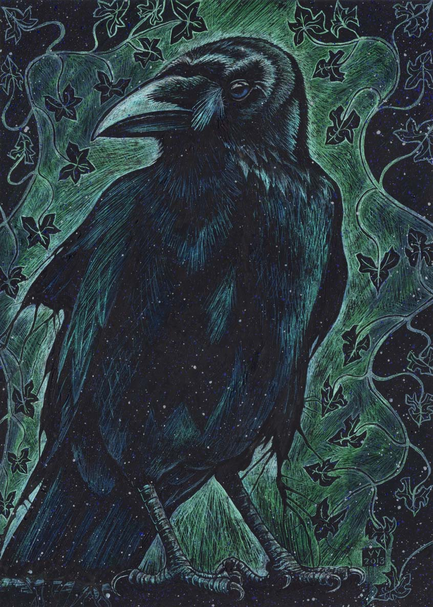 'Crow and Ivy' A4 print