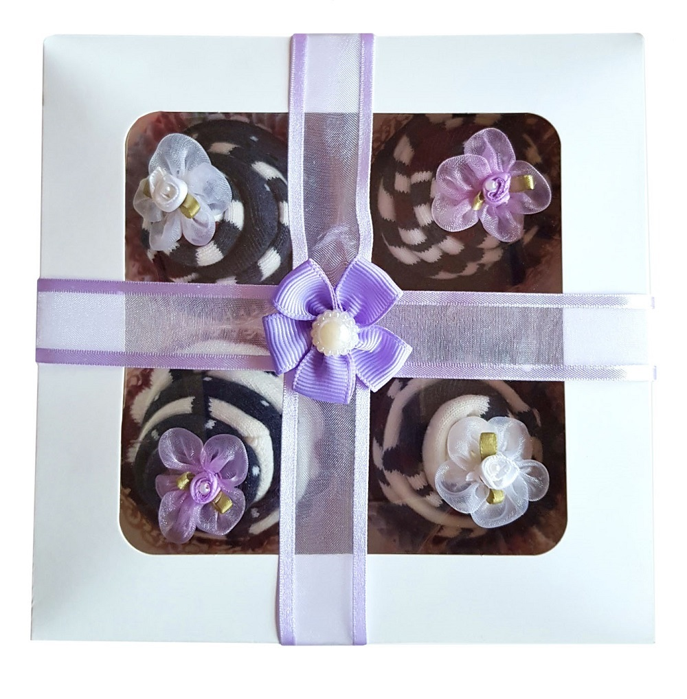 Women's Sock Cupcakes, Purple Ribbon Gift Box