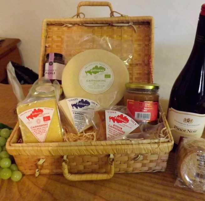 A hamper with a wide selection of Galloway Farmhouse Cheese and related produce