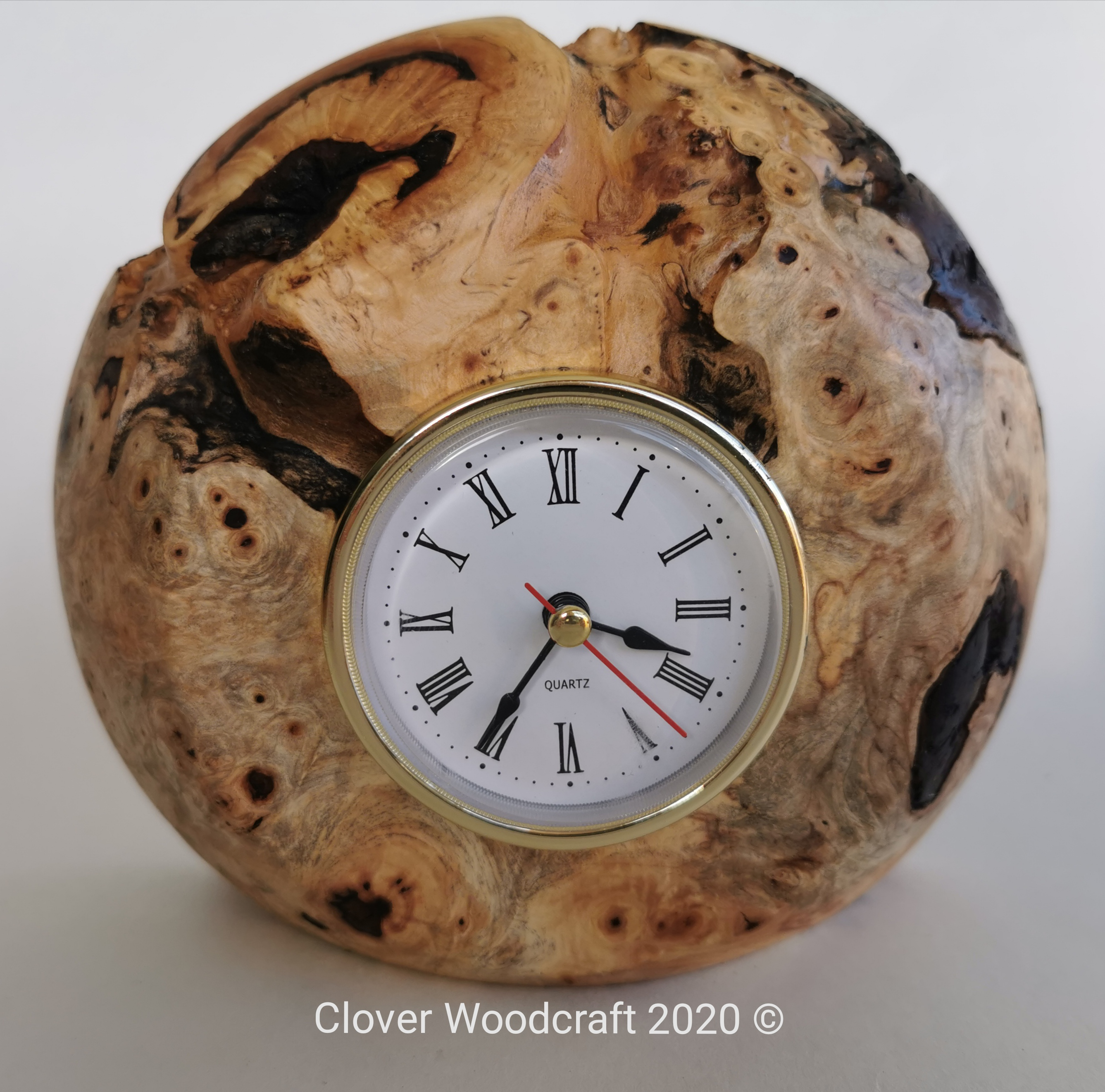Irish Wood Turned Horse Chestnut Mantel Clock
