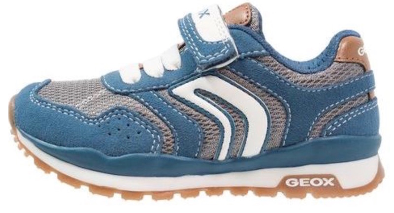 Blue suede and mesh trainer for baby boys from Geox