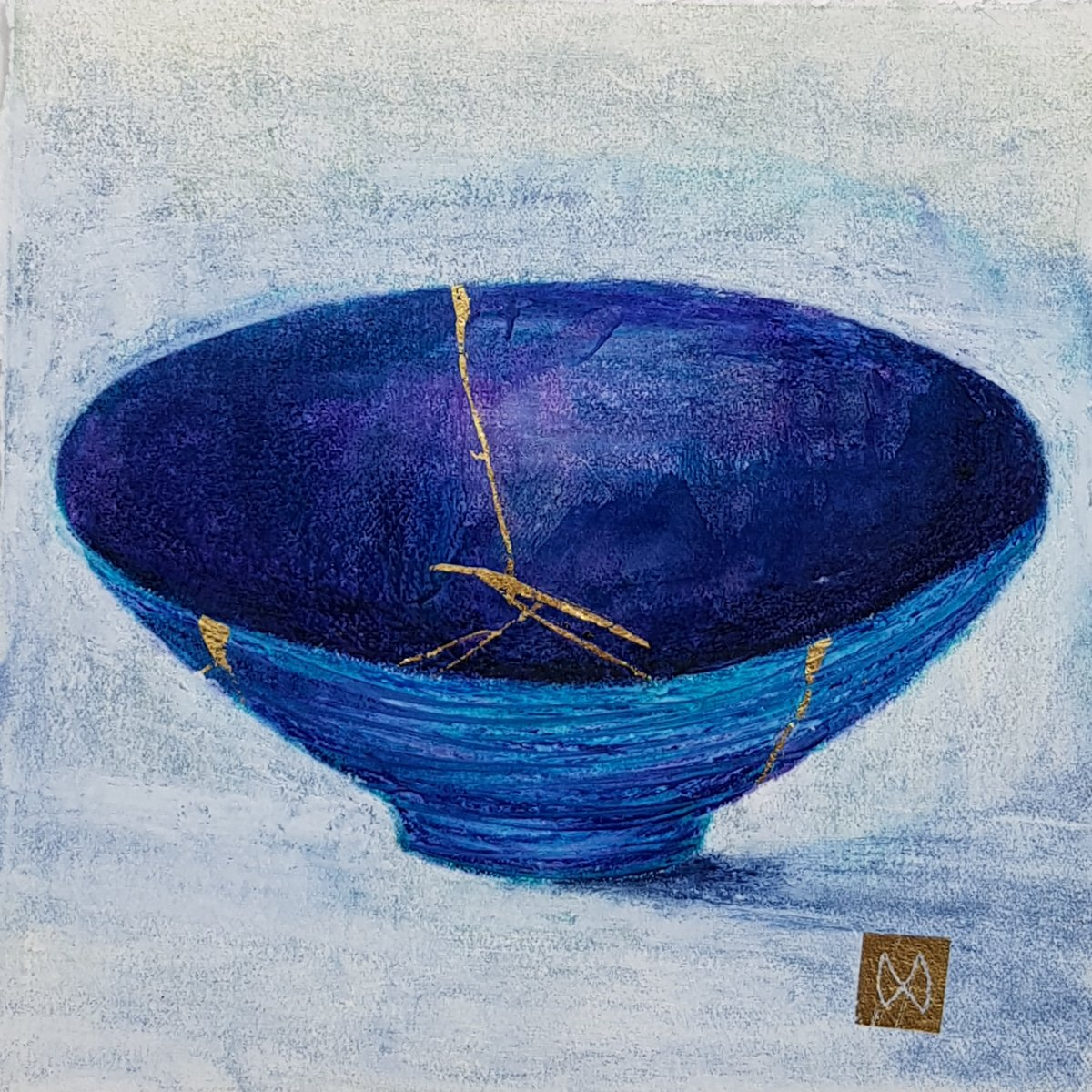 painting of Japanese kintsugi Summer tea bowl with gold by Irish artist blue purple