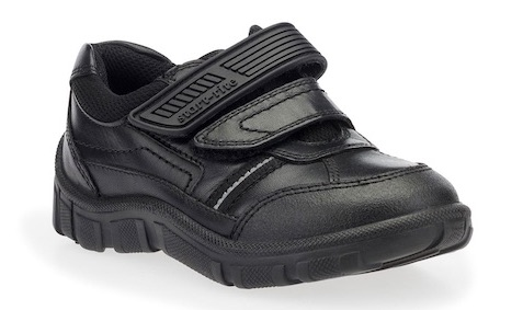 Sturdy black leather school shoes for boys in a trainer style with two Velcro straps