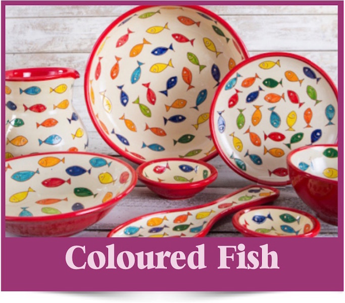 Coloured Fish design Spanish Ceramics from Brambles Deli Kirkcudbright