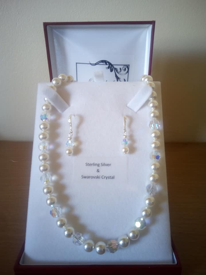 Elegant Swarovski Pearl Necklace with matching Sterling Silver Pearl and CZ Fish Hook  Earrings