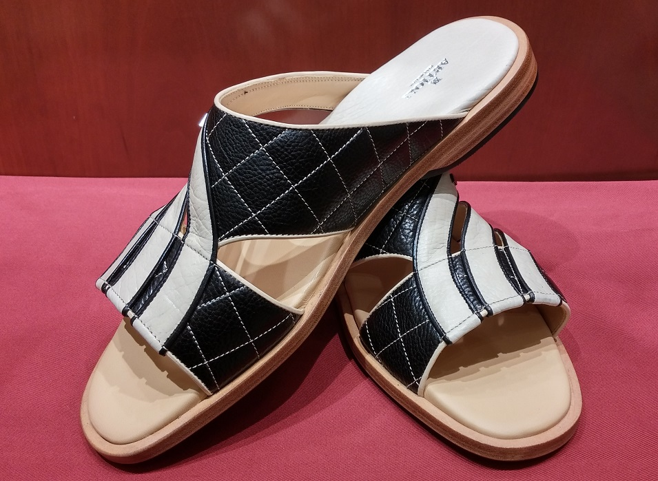 Sandal Style 103 Black & White Leather