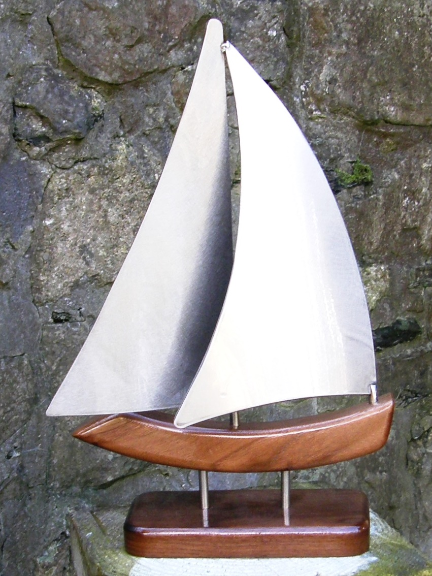 Whimsical Yacht Model Handmade in Stainless Steel & Walnut - 350x240mm